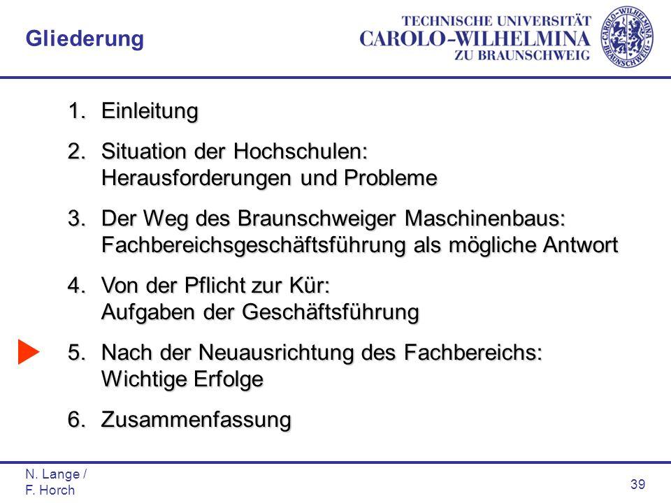 N. Lange / F. Horch 39 1.Einleitung 2.Situation der Hochschulen: Herausforderungen und Probleme 3.Der Weg des Braunschweiger Maschinenbaus: Fachbereic