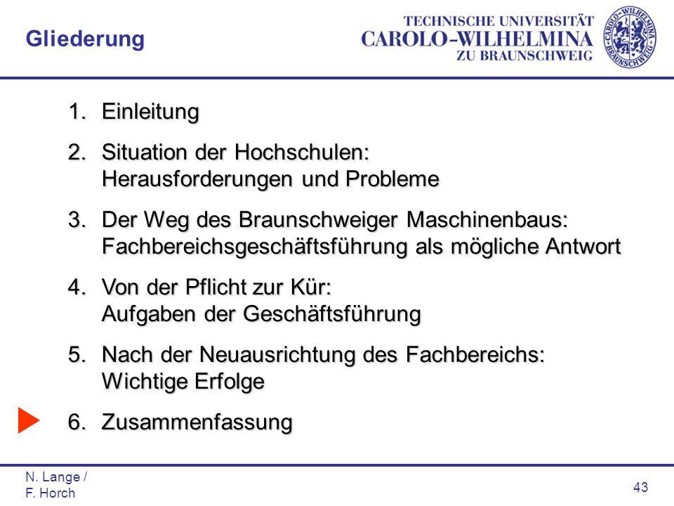 N. Lange / F. Horch 43 1.Einleitung 2.Situation der Hochschulen: Herausforderungen und Probleme 3.Der Weg des Braunschweiger Maschinenbaus: Fachbereic