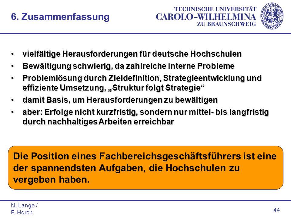 N. Lange / F. Horch 44 vielfältige Herausforderungen für deutsche Hochschulenvielfältige Herausforderungen für deutsche Hochschulen Bewältigung schwie