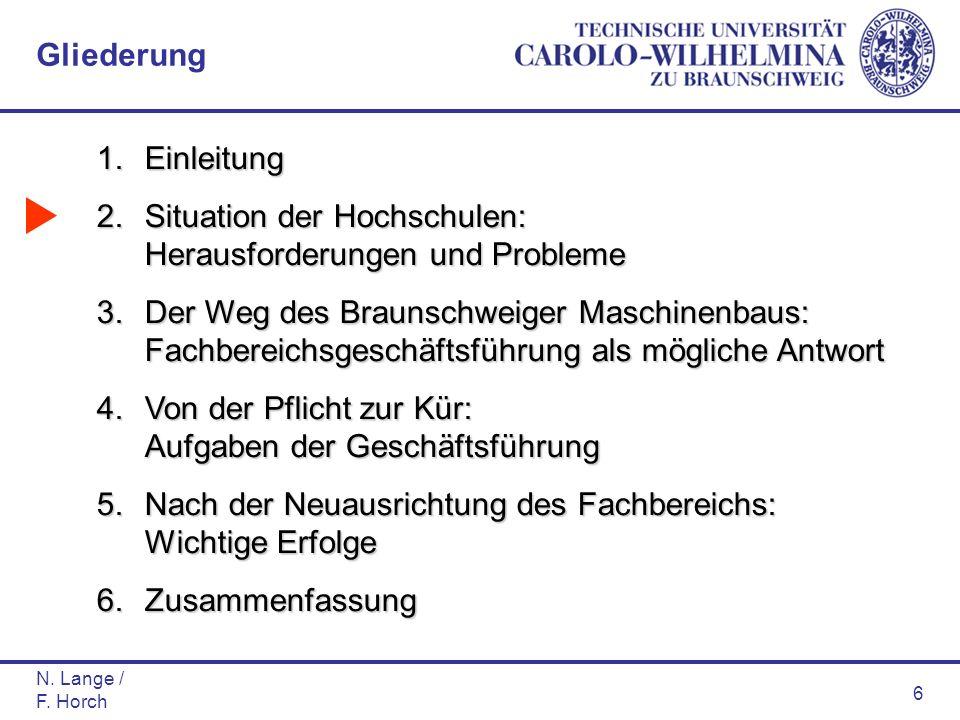 N. Lange / F. Horch 6 1.Einleitung 2.Situation der Hochschulen: Herausforderungen und Probleme 3.Der Weg des Braunschweiger Maschinenbaus: Fachbereich