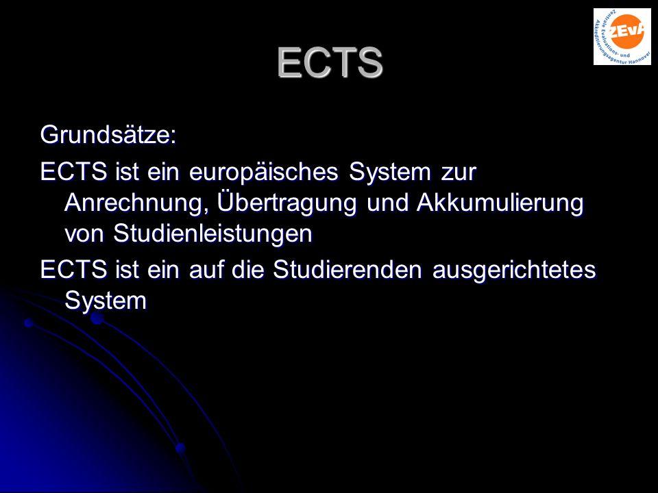 ECTS Grundsätze: ECTS ist ein europäisches System zur Anrechnung, Übertragung und Akkumulierung von Studienleistungen ECTS ist ein auf die Studierenden ausgerichtetes System