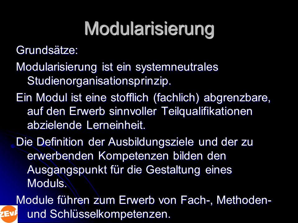 Modularisierung Grundsätze: Modularisierung ist ein systemneutrales Studienorganisationsprinzip.