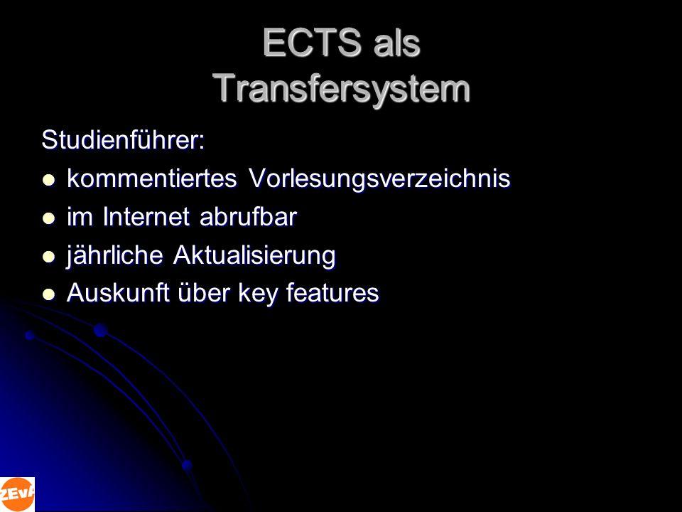 ECTS als Transfersystem Studienführer: kommentiertes Vorlesungsverzeichnis kommentiertes Vorlesungsverzeichnis im Internet abrufbar im Internet abrufbar jährliche Aktualisierung jährliche Aktualisierung Auskunft über key features Auskunft über key features