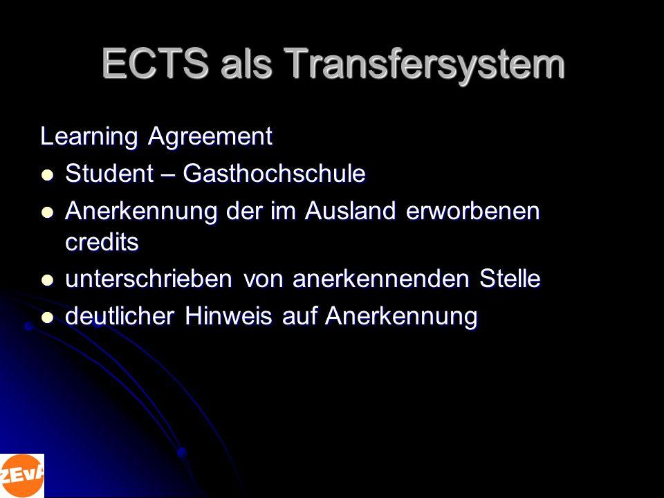 ECTS als Transfersystem Transcript of Records absolvierte Module absolvierte Module Benotung Benotung Diploma Supplement Studiengangsinformationen Studiengangsinformationen Qualifikationsprofil Qualifikationsprofil individueller Erfolg individueller Erfolg Informationen über Hochschulsystem Informationen über Hochschulsystem