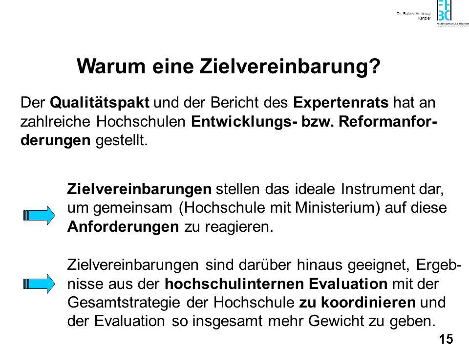Dr. Rainer Ambrosy Kanzler 14 Warum eine Zielvereinbarung? Zielvereinbarungen stellen ein neues Verhandlungsmodell dar, dass -inoffizielle Nebenabrede
