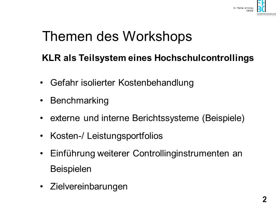Leistungsbezogene Kostenrechnung als Instrument des Hochschulcontrolling Dr. Rainer Ambrosy Kanzler HOCHSCHULKURS 2003 KLR als Teilsystem eines Hochsc