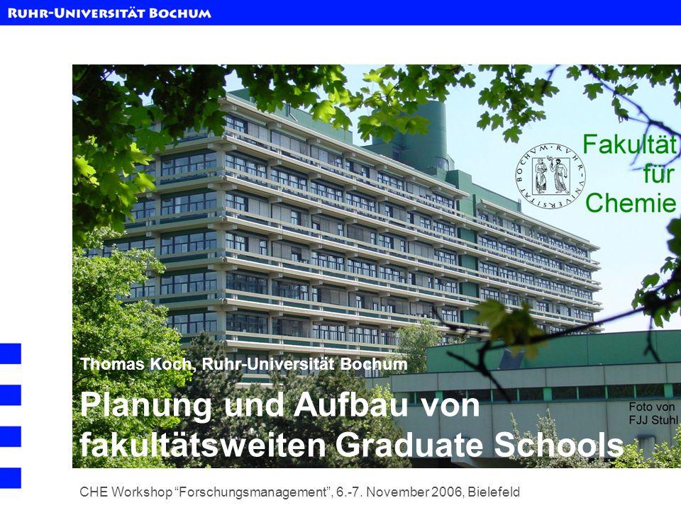 Planung und Aufbau von fakultätsweiten Graduate Schools CHE Workshop Forschungsmanagement, 6.-7. November 2006, Bielefeld Thomas Koch, Ruhr-Universitä