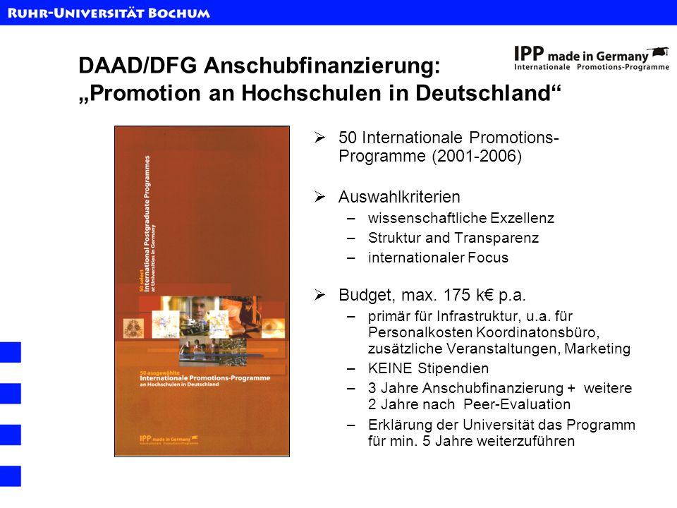 DAAD/DFG Anschubfinanzierung: Promotion an Hochschulen in Deutschland 50 Internationale Promotions- Programme (2001-2006) Auswahlkriterien –wissenscha
