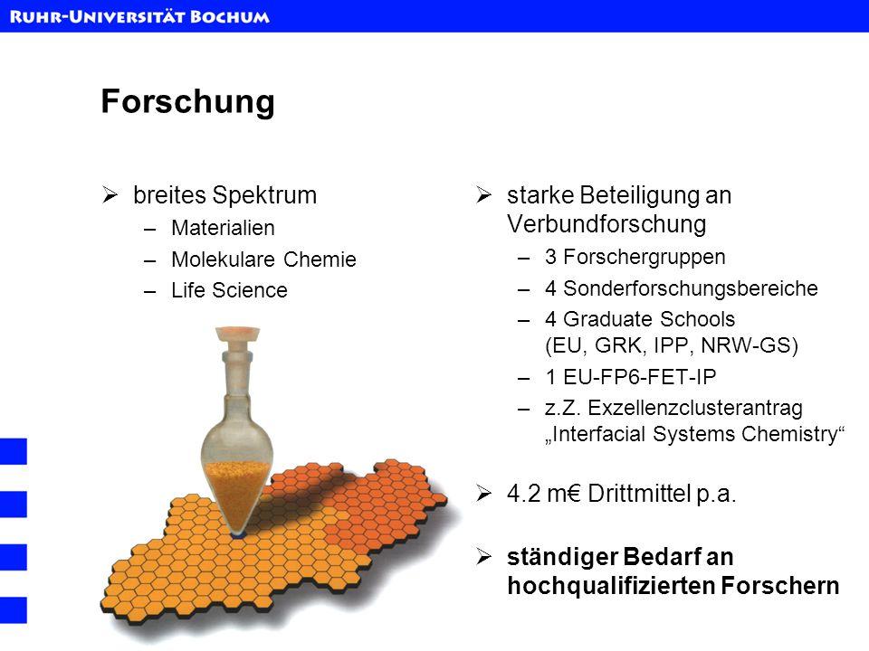 Internationale Wettbewerbsfähigkeit EU Call für Marie Curie Early Stage Research Training: FP6-2004-Mobility-2 eingereichte Anträge:846 erfolgreiche Projekte:109 - davon im Chemie Panel: 16 - davon in Deutschland: 1 INTCHEM@RUB IGSN (Neuroscience):NovoBrain & Cortex