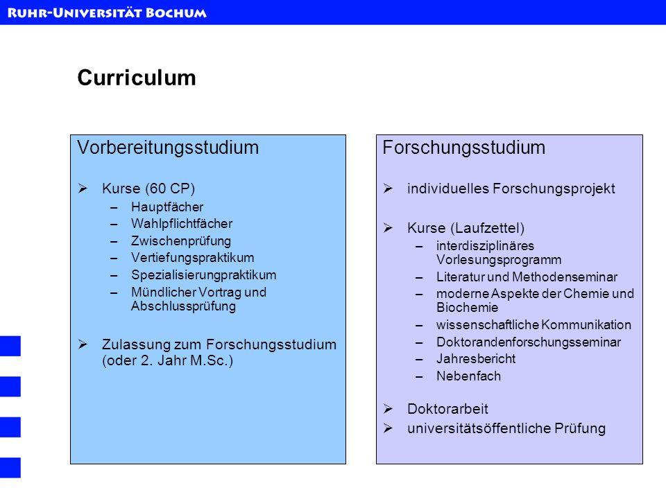 Curriculum Vorbereitungsstudium Kurse (60 CP) –Hauptfächer –Wahlpflichtfächer –Zwischenprüfung –Vertiefungspraktikum –Spezialisierungpraktikum –Mündli
