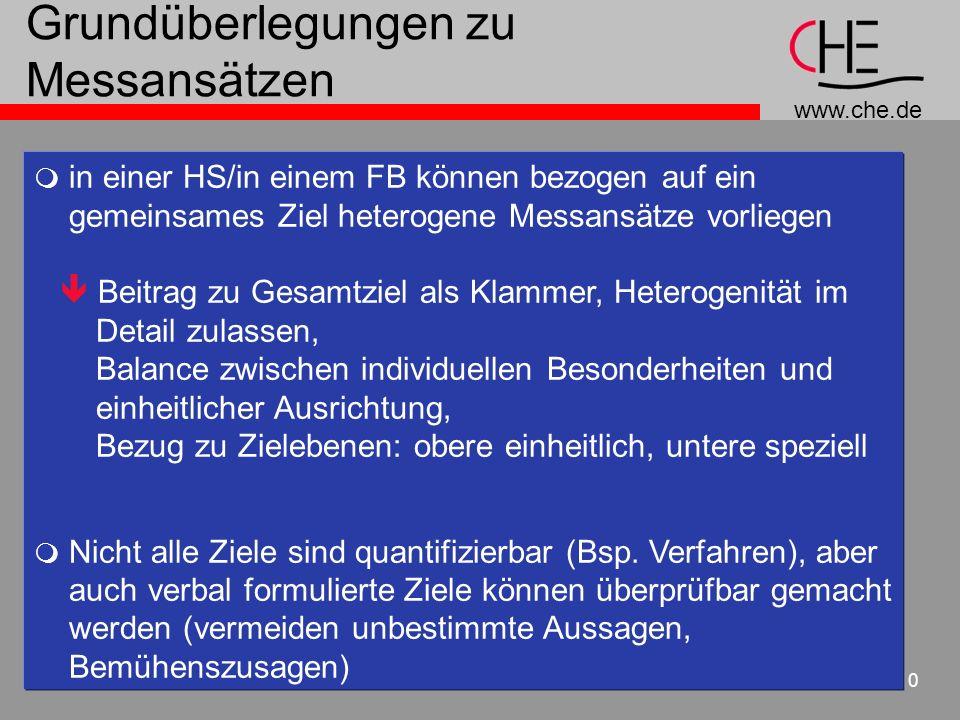 www.che.de 10 Grundüberlegungen zu Messansätzen in einer HS/in einem FB können bezogen auf ein gemeinsames Ziel heterogene Messansätze vorliegen Beitr