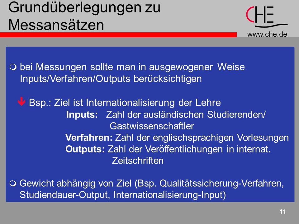 www.che.de 11 Grundüberlegungen zu Messansätzen bei Messungen sollte man in ausgewogener Weise Inputs/Verfahren/Outputs berücksichtigen Bsp.: Ziel ist