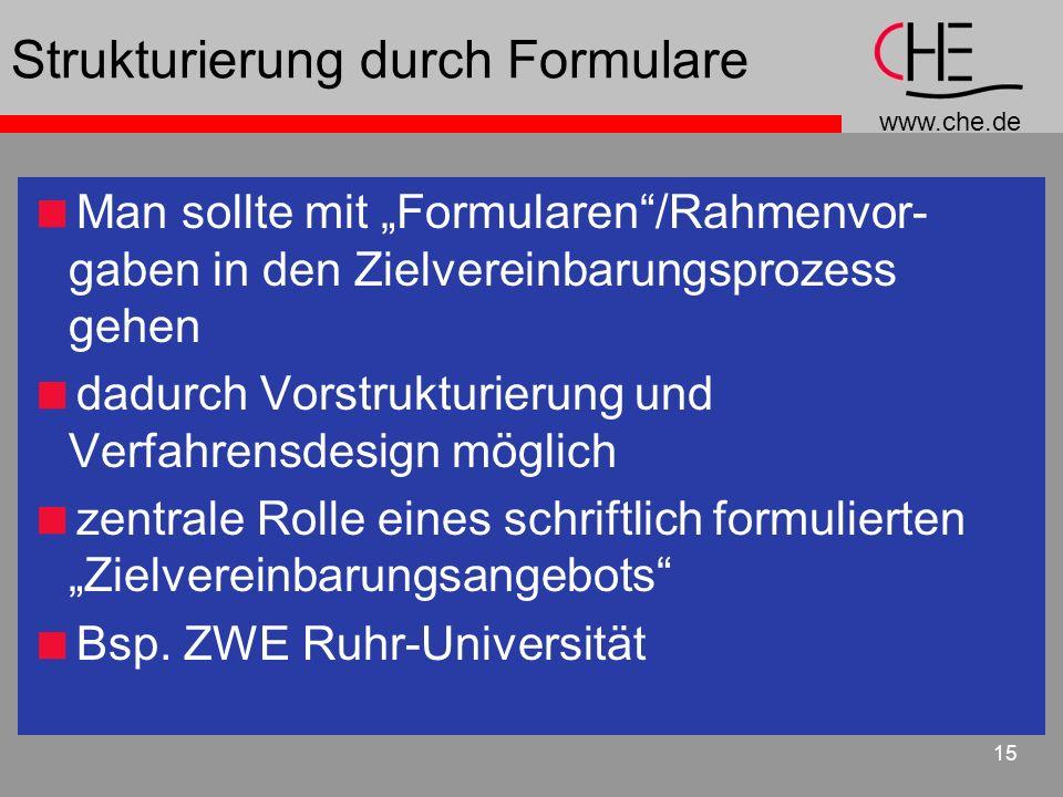 www.che.de 15 Strukturierung durch Formulare Man sollte mit Formularen/Rahmenvor- gaben in den Zielvereinbarungsprozess gehen dadurch Vorstrukturierun