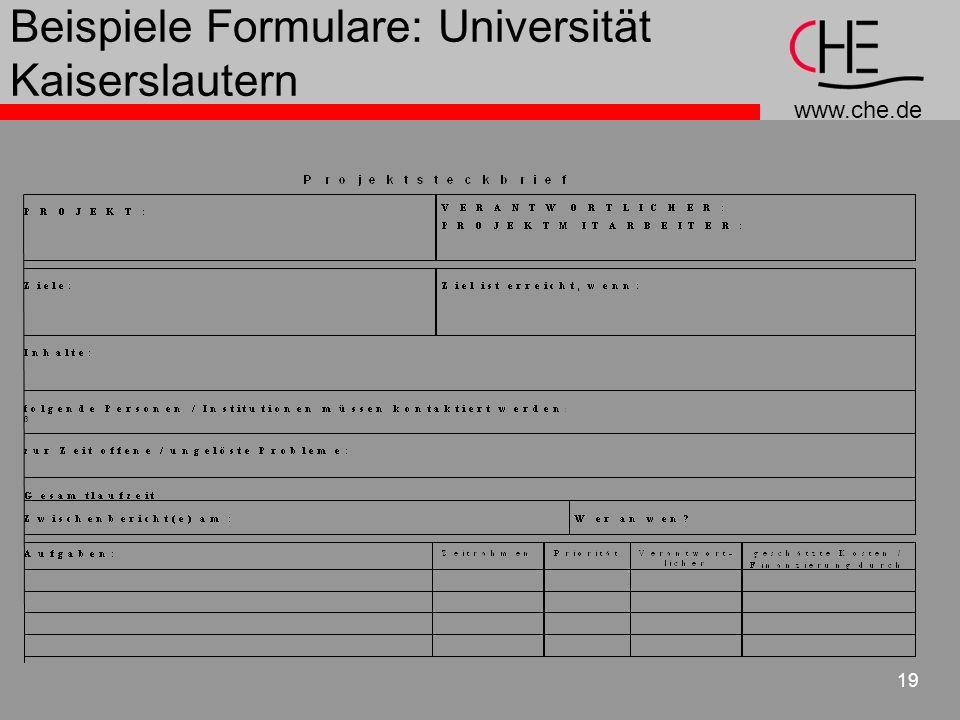 www.che.de 19 Beispiele Formulare: Universität Kaiserslautern
