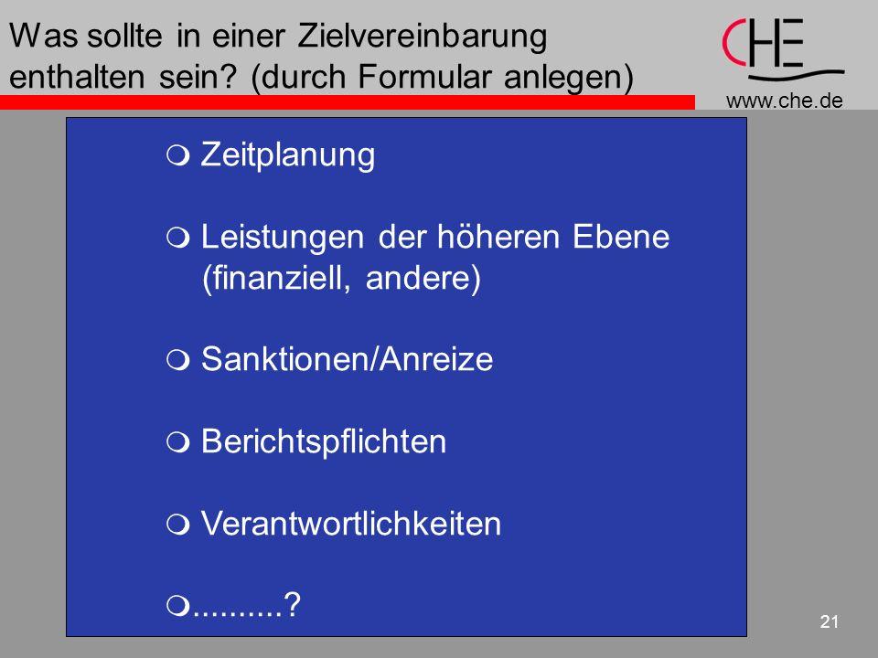www.che.de 21 Was sollte in einer Zielvereinbarung enthalten sein? (durch Formular anlegen) Zeitplanung Leistungen der höheren Ebene (finanziell, ande