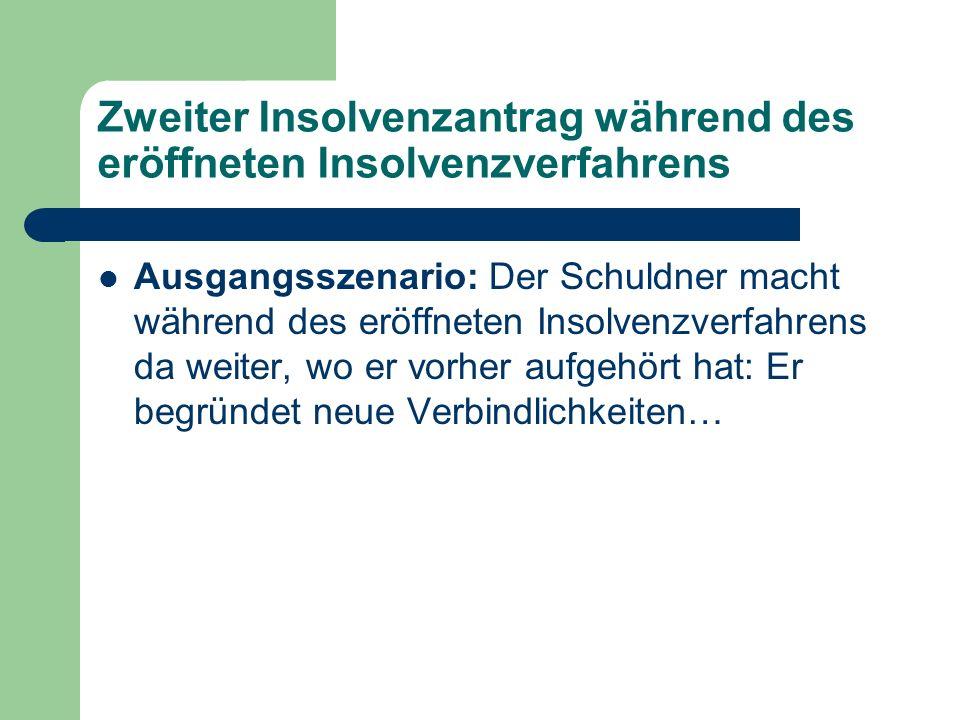 Zweiter Insolvenzantrag während des eröffneten Insolvenzverfahrens Ausgangsszenario: Der Schuldner macht während des eröffneten Insolvenzverfahrens da