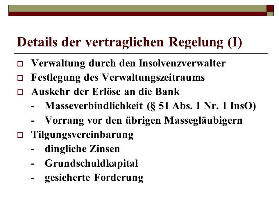 Details der vertraglichen Regelung (I) Verwaltung durch den Insolvenzverwalter Festlegung des Verwaltungszeitraums Auskehr der Erlöse an die Bank -Mas
