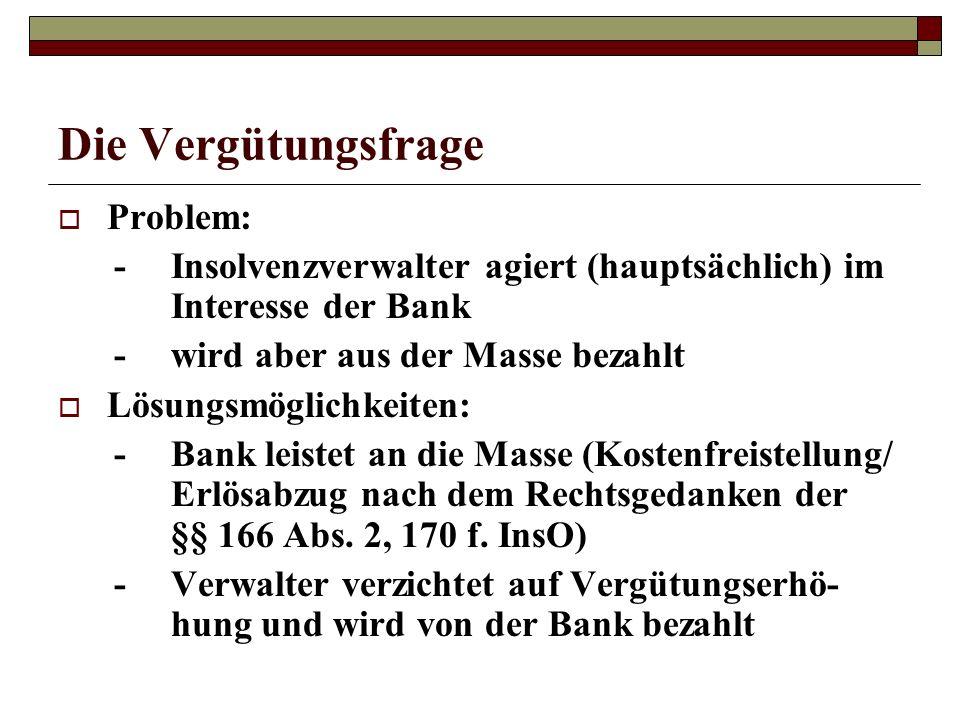 Die Vergütungsfrage Problem: -Insolvenzverwalter agiert (hauptsächlich) im Interesse der Bank -wird aber aus der Masse bezahlt Lösungsmöglichkeiten: -
