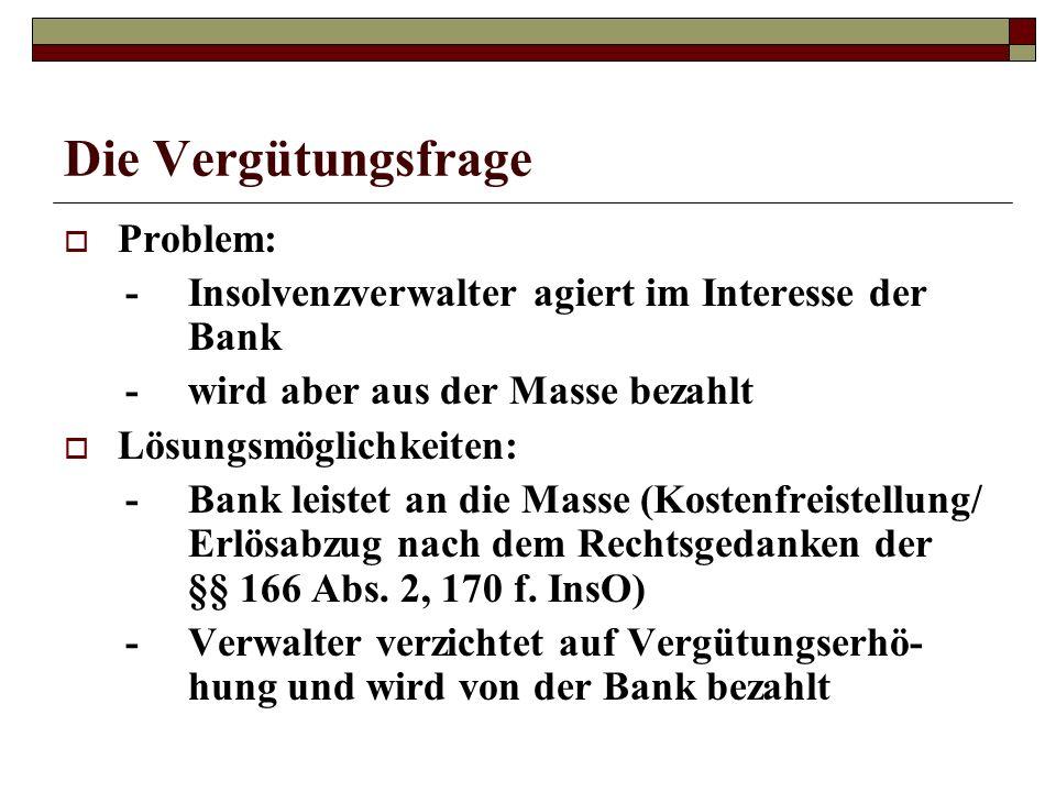 Die Vergütungsfrage Problem: -Insolvenzverwalter agiert im Interesse der Bank -wird aber aus der Masse bezahlt Lösungsmöglichkeiten: -Bank leistet an