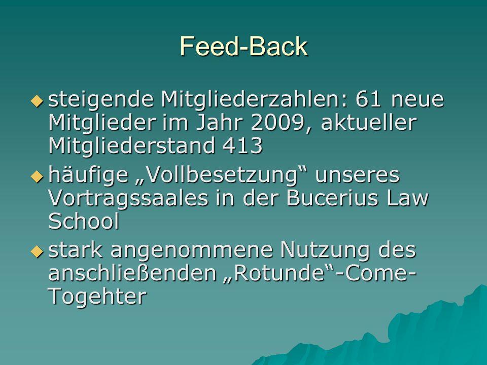 Feed-Back steigende Mitgliederzahlen: 61 neue Mitglieder im Jahr 2009, aktueller Mitgliederstand 413 steigende Mitgliederzahlen: 61 neue Mitglieder im