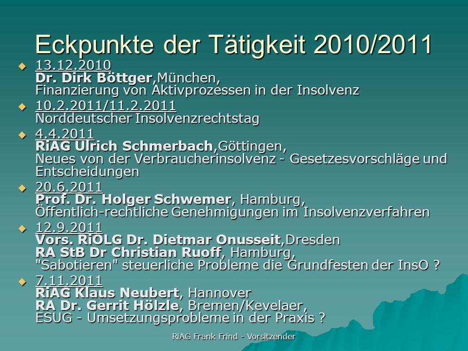 RiAG Frank Frind - Vorsitzender Eckpunkte der Tätigkeit 2010/2011 13.12.2010 Dr. Dirk Böttger,München, Finanzierung von Aktivprozessen in der Insolven