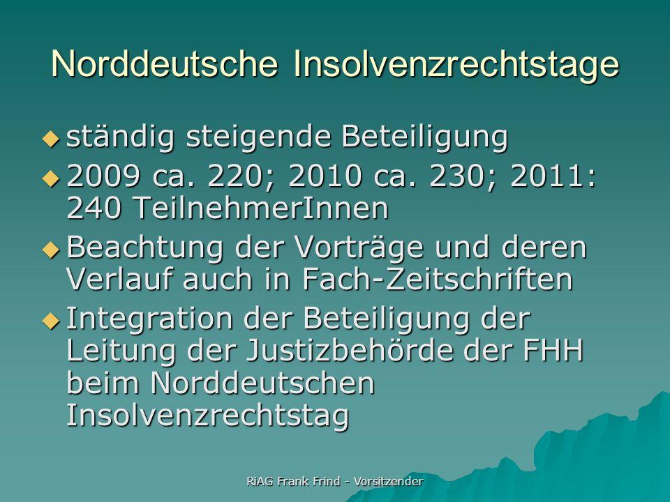 RiAG Frank Frind - Vorsitzender Norddeutsche Insolvenzrechtstage ständig steigende Beteiligung ständig steigende Beteiligung 2009 ca. 220; 2010 ca. 23