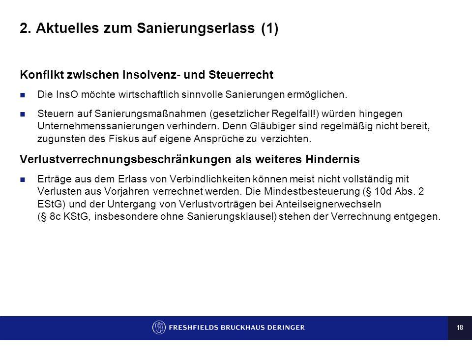 17 1. Die Sanierungsklausel und Beihilferecht (6) Erfolgsaussichten in der Hauptsache Argumente im Schrifttum zugunsten der Sanierungsklausel Objektiv