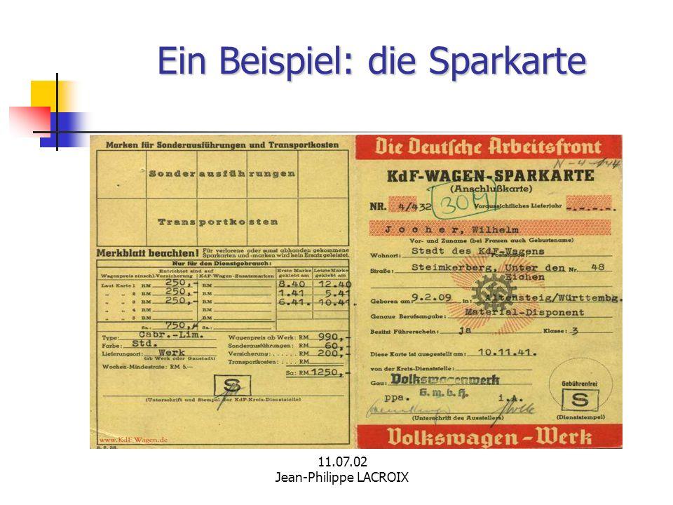 11.07.02 Jean-Philippe LACROIX Ein Beispiel: die Sparkarte