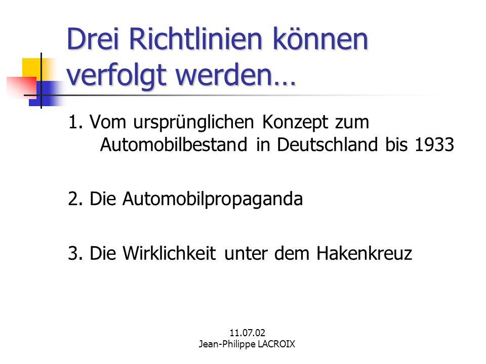11.07.02 Jean-Philippe LACROIX Drei Richtlinien können verfolgt werden… 1. Vom ursprünglichen Konzept zum Automobilbestand in Deutschland bis 1933 2.