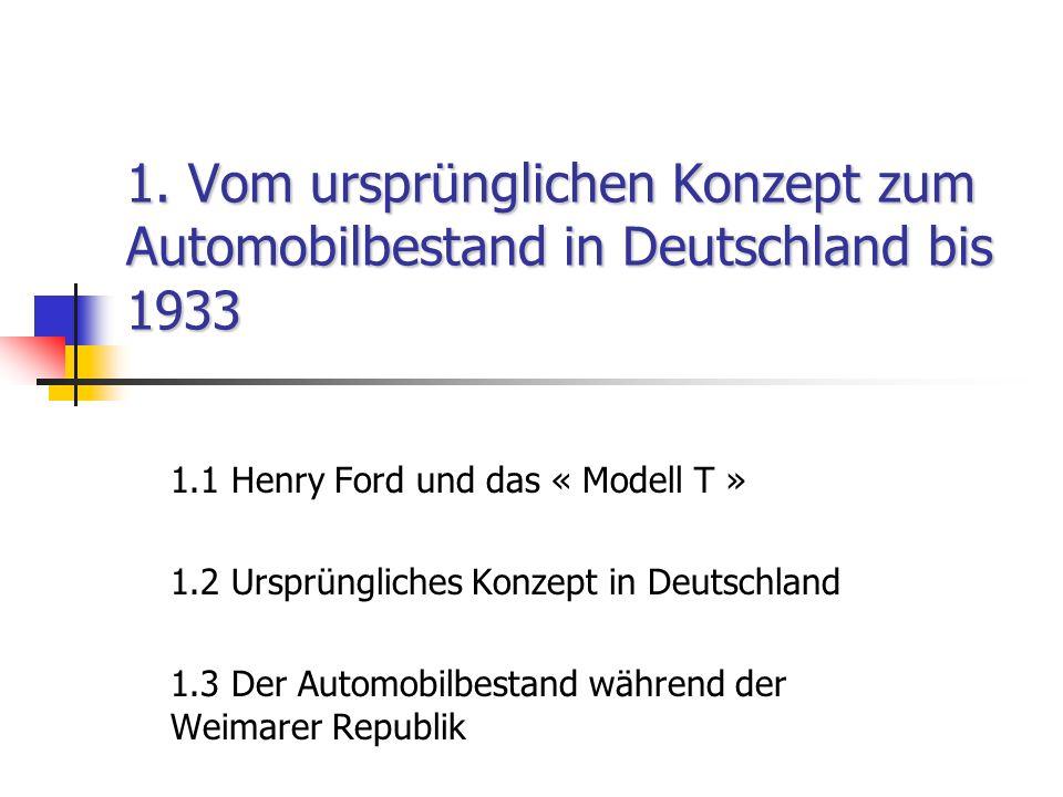 1. Vom ursprünglichen Konzept zum Automobilbestand in Deutschland bis 1933 1.1 Henry Ford und das « Modell T » 1.2 Ursprüngliches Konzept in Deutschla