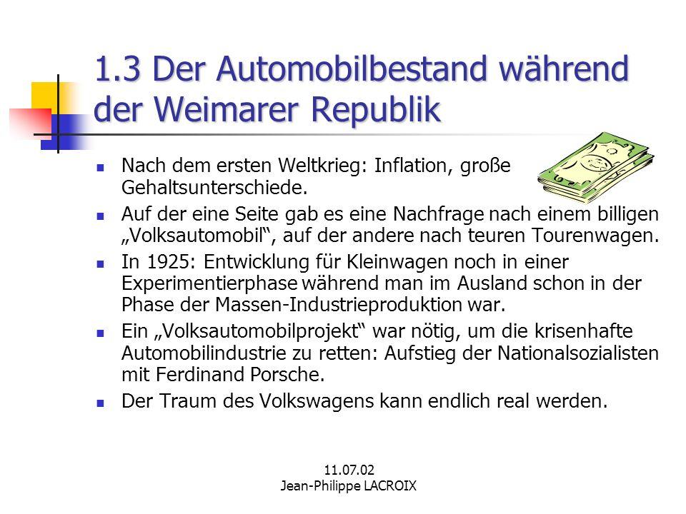 11.07.02 Jean-Philippe LACROIX 1.3 Der Automobilbestand während der Weimarer Republik Nach dem ersten Weltkrieg: Inflation, große Gehaltsunterschiede.