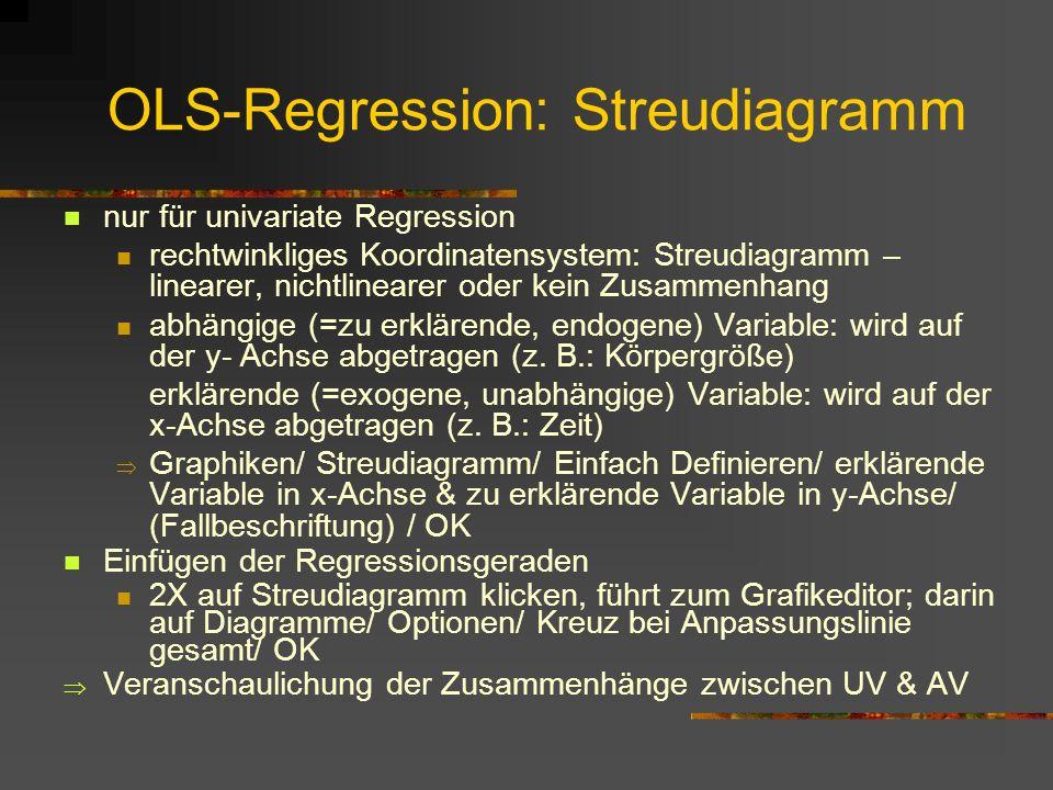 OLS-Regression: Streudiagramm nur für univariate Regression rechtwinkliges Koordinatensystem: Streudiagramm – linearer, nichtlinearer oder kein Zusammenhang abhängige (=zu erklärende, endogene) Variable: wird auf der y- Achse abgetragen (z.