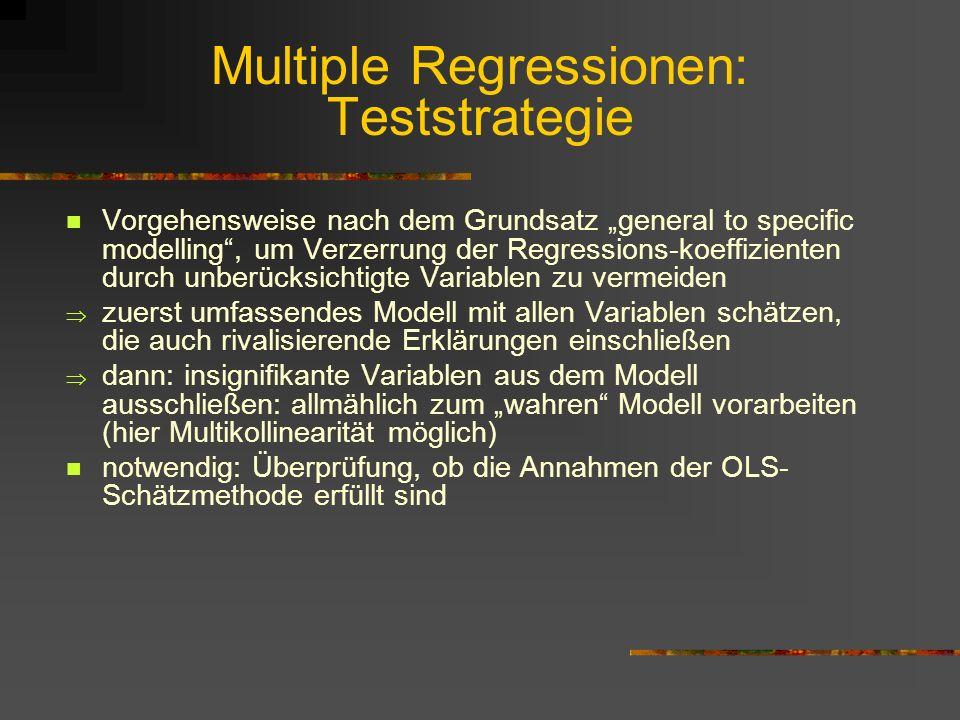 Multiple Regressionen: Teststrategie Vorgehensweise nach dem Grundsatz general to specific modelling, um Verzerrung der Regressions-koeffizienten durch unberücksichtigte Variablen zu vermeiden zuerst umfassendes Modell mit allen Variablen schätzen, die auch rivalisierende Erklärungen einschließen dann: insignifikante Variablen aus dem Modell ausschließen: allmählich zum wahren Modell vorarbeiten (hier Multikollinearität möglich) notwendig: Überprüfung, ob die Annahmen der OLS- Schätzmethode erfüllt sind