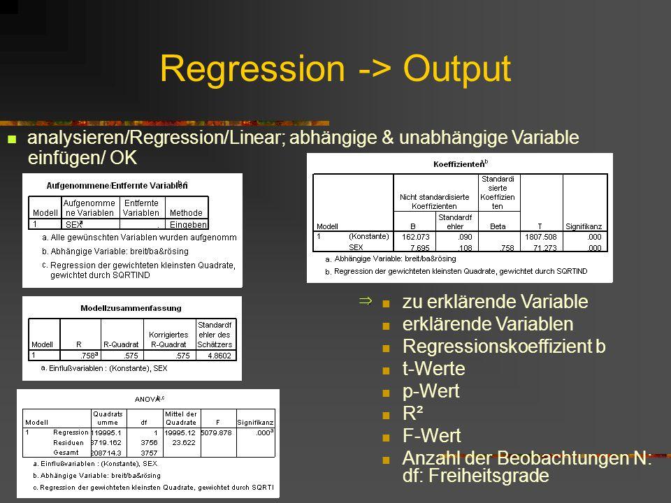 Regression -> Output zu erklärende Variable erklärende Variablen Regressionskoeffizient b t-Werte p-Wert R² F-Wert Anzahl der Beobachtungen N: df: Fre