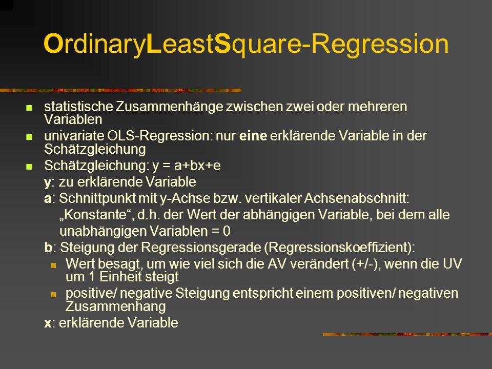 OrdinaryLeastSquare-Regression statistische Zusammenhänge zwischen zwei oder mehreren Variablen univariate OLS-Regression: nur eine erklärende Variable in der Schätzgleichung Schätzgleichung: y = a+bx+e y: zu erklärende Variable a: Schnittpunkt mit y-Achse bzw.