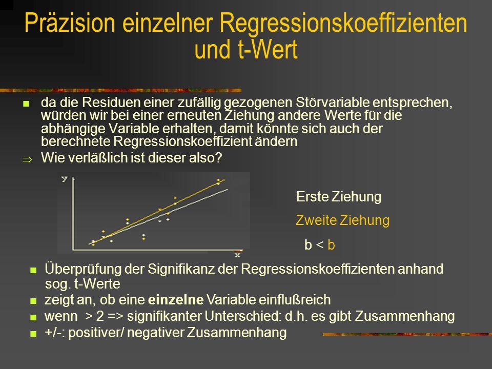Präzision einzelner Regressionskoeffizienten und t-Wert da die Residuen einer zufällig gezogenen Störvariable entsprechen, würden wir bei einer erneuten Ziehung andere Werte für die abhängige Variable erhalten, damit könnte sich auch der berechnete Regressionskoeffizient ändern Wie verläßlich ist dieser also.