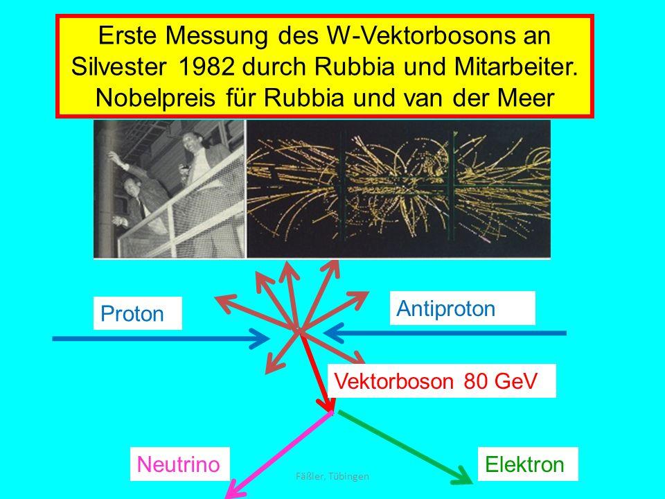 Proton Antiproton ElektronNeutrino Vektorboson 80 GeV Erste Messung des W-Vektorbosons an Silvester 1982 durch Rubbia und Mitarbeiter. Nobelpreis für