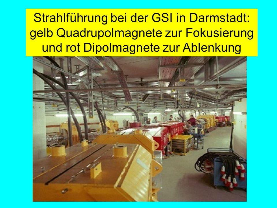 Fäßler, Tübingen Strahlführung bei der GSI in Darmstadt: gelb Quadrupolmagnete zur Fokusierung und rot Dipolmagnete zur Ablenkung