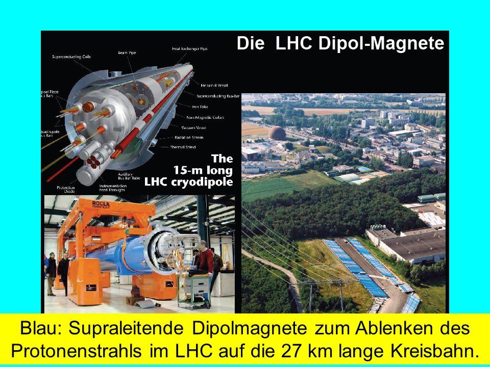 Fäßler, Tübingen Blau: Supraleitende Dipolmagnete zum Ablenken des Protonenstrahls im LHC auf die 27 km lange Kreisbahn.