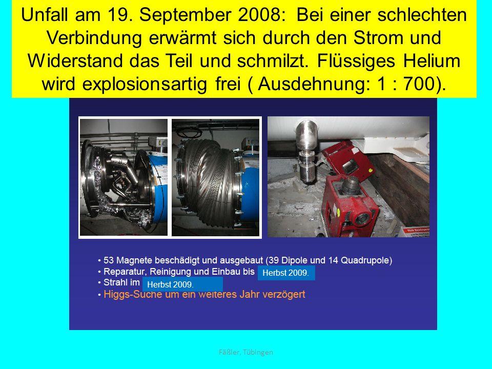 Unfall am 19. September 2008: Bei einer schlechten Verbindung erwärmt sich durch den Strom und Widerstand das Teil und schmilzt. Flüssiges Helium wird