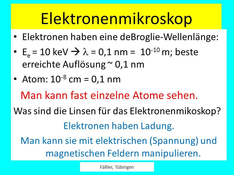 Elektronenmikroskop Elektronen haben eine deBroglie-Wellenlänge: E e = 10 keV = 0,1 nm = 10 -10 m; beste erreichte Auflösung ~ 0,1 nm Atom: 10 -8 cm =