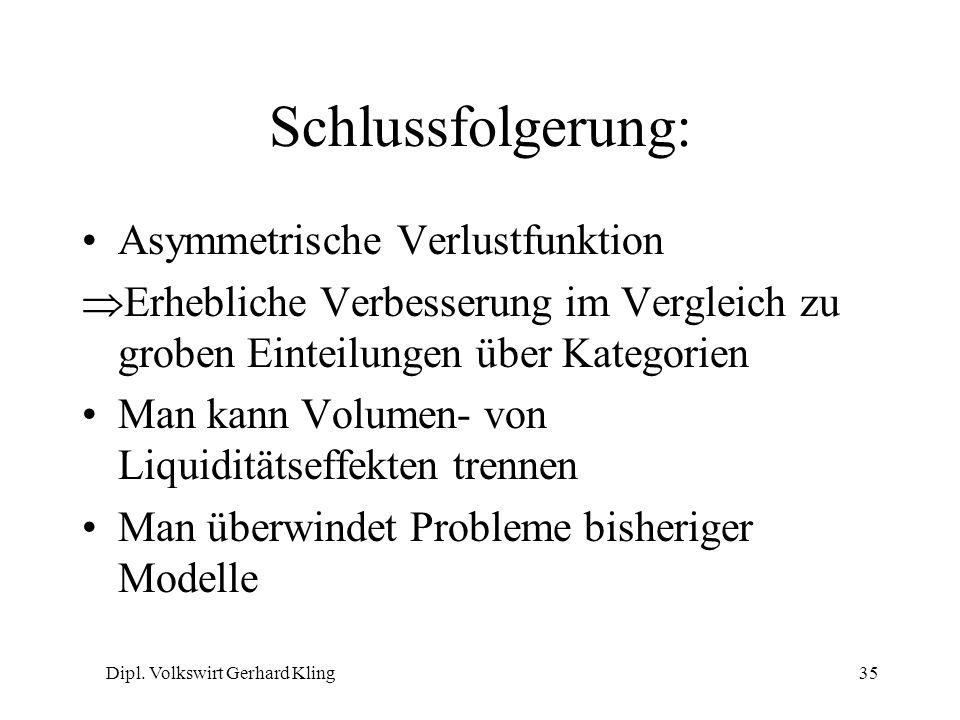 Dipl. Volkswirt Gerhard Kling35 Schlussfolgerung: Asymmetrische Verlustfunktion Erhebliche Verbesserung im Vergleich zu groben Einteilungen über Kateg