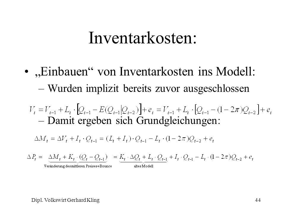 Dipl. Volkswirt Gerhard Kling44 Inventarkosten: Einbauen von Inventarkosten ins Modell: –Wurden implizit bereits zuvor ausgeschlossen –Damit ergeben s