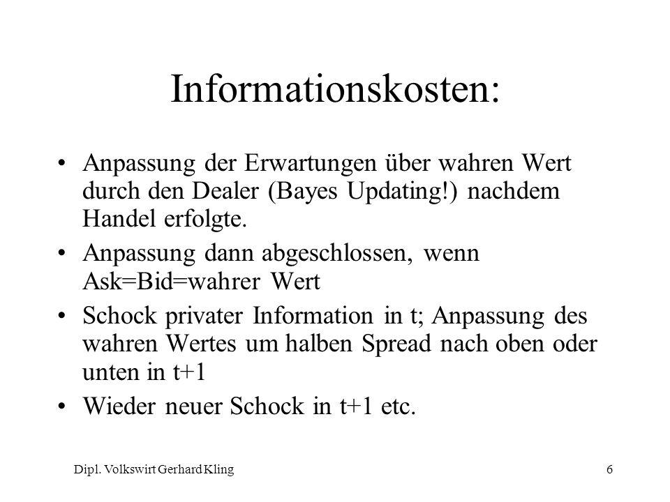 Dipl. Volkswirt Gerhard Kling6 Informationskosten: Anpassung der Erwartungen über wahren Wert durch den Dealer (Bayes Updating!) nachdem Handel erfolg