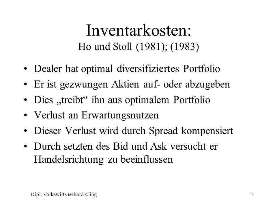 Dipl. Volkswirt Gerhard Kling7 Inventarkosten: Ho und Stoll (1981); (1983) Dealer hat optimal diversifiziertes Portfolio Er ist gezwungen Aktien auf-