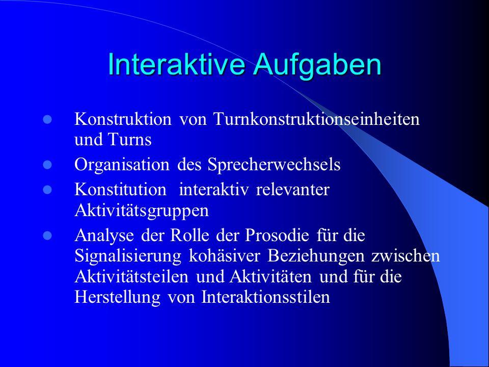 Interaktive Aufgaben Konstruktion von Turnkonstruktionseinheiten und Turns Organisation des Sprecherwechsels Konstitution interaktiv relevanter Aktivi