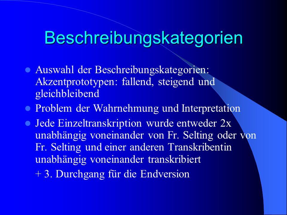 Beschreibungskategorien Auswahl der Beschreibungskategorien: Akzentprototypen: fallend, steigend und gleichbleibend Problem der Wahrnehmung und Interp