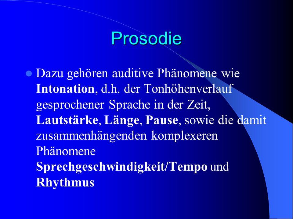 Prosodie Dazu gehören auditive Phänomene wie Intonation, d.h. der Tonhöhenverlauf gesprochener Sprache in der Zeit, Lautstärke, Länge, Pause, sowie di