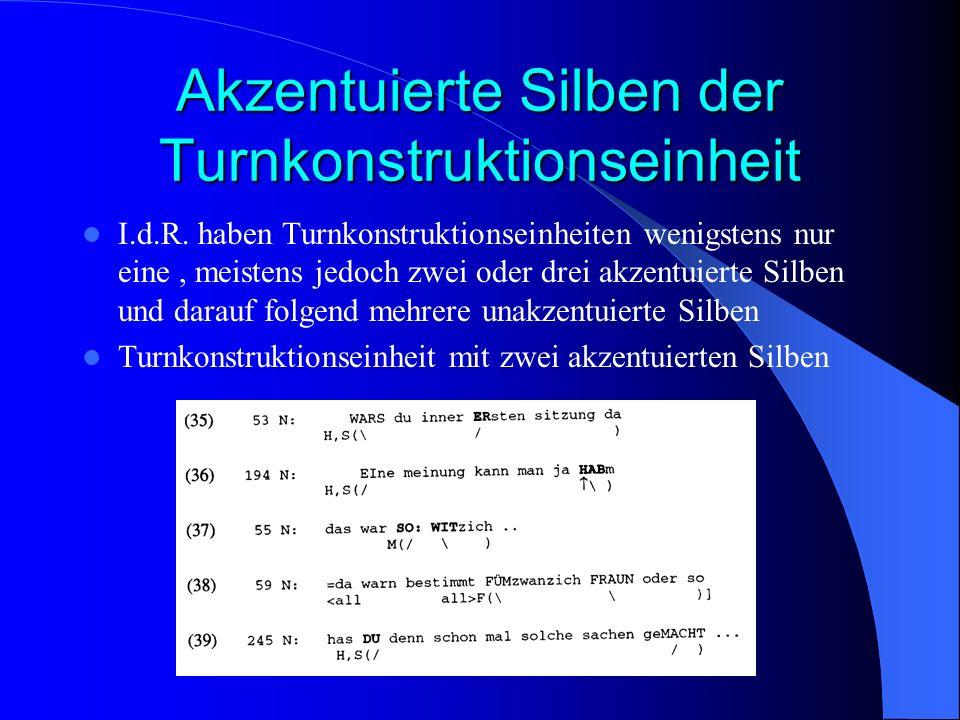 Akzentuierte Silben der Turnkonstruktionseinheit I.d.R.
