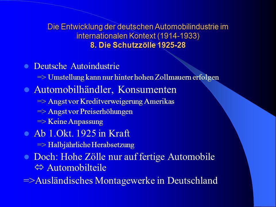 Die Entwicklung der deutschen Automobilindustrie im internationalen Kontext (1914-1933) 8. Die Schutzzölle 1925-28 Deutsche Autoindustrie => Umstellun